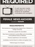 Job In News Anchors Required 10 Sep 2018