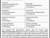 Latest Jobs In Institute of Business Administration 2019