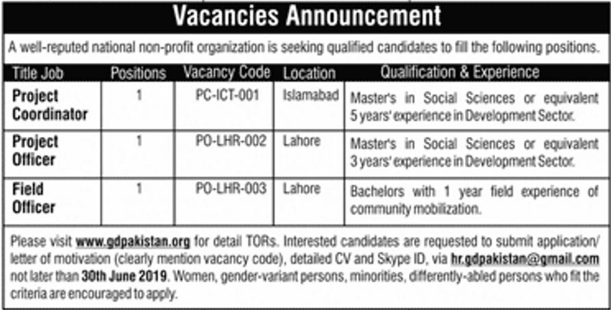 GD Pakistan Organization Looking for Staff 2019