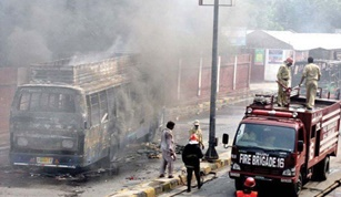 After tragic death six buses ablaze by enrage students