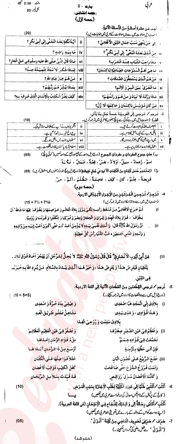 Arabic FA Part 2 Past Paper Group 1 BISE AJK 2014 | Past Papers
