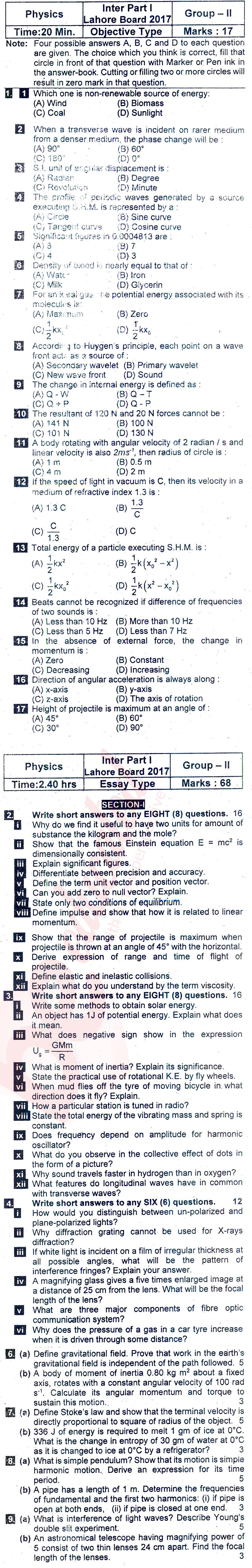 physics past papers intermediate 2 lahore board Past papers lahore board 2016 inter part 2 physics group 1 has been suggested for fsc pre medical and engineering 2nd year (intermediate part two) in board of intermediate and secondary education lahore (bise lhr).