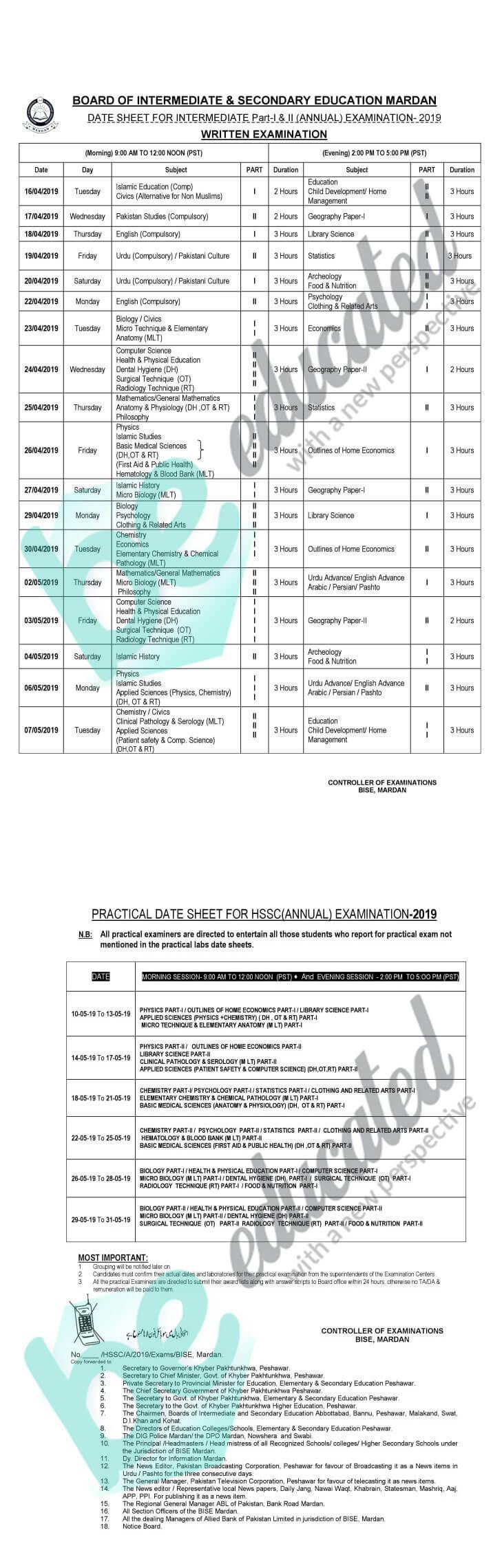 12th Class Date Sheet 2019 Mardan Board FSc ICS ICom FA Inter
