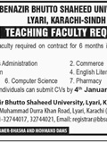 Job In Benazir Bhutto Shaheed University 29 Dec 2018