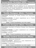 Job In Firdous Cloth Mills Pvt Limited 18 Dec 2018