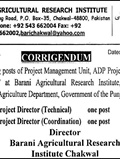 Jobs In Barani Agriculture Research Institute 28 Mar 2018