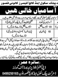 Jobs in District Public School and College in Kasur 10 March 2018