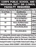 Jobs in Frontier Corps Public School and College 20 Feb 2018