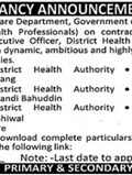 Jobs in Govt Primary and Secondary Healthcare Department 17 Feb 2018