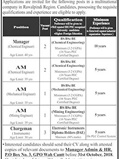 Jobs In Manager And Chargman in Lahore 13 Oct 2018