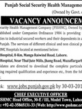 Jobs in Punjab Social Security Health Management Company 05 March 2018