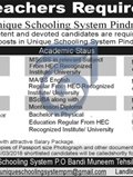 Jobs In Unique Schooling System Haripur 13 Mar 2018