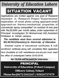 Jobs In University Of Education Lahore 09 Feb 2018