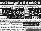 Adnan Malik Enterprises Offering Jobs In Saudi Arab
