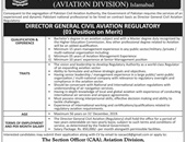 Director General Civil Aviation Regulatory Jobs In Aviation Division Islamabad