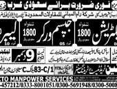 Electrician, Labour, Gypsum Jobs in Saudi arabia