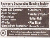 Engineers Cooperative Housing Society Offering Jobs In Islamabad