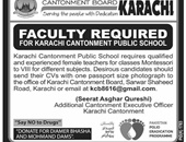 Faculty Staff Jobs In Cantonment Public School Karachi