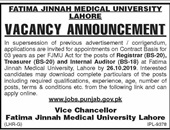 Fatima Jinnah Medical University Offering Jobs In Lahore