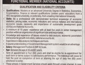 Functional Member National Accounts Job In Bureau Of Statistics Islamabad
