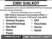 Get a Latest Jobs In CMH Sialkot 2019