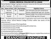 Gomal Medical College MTI D.I Khan Offers Jobs 2019