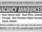 Head Internal Audit,Principal Jobs In Mari Petroleum Company Limited Islamabad