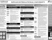 Jobs In Riphah International University Lahore 2019