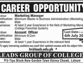 Leads Group Of Colleges Offers Jobs 2019