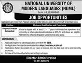 National University Of Modern Languages Offering Job In Faisalabad