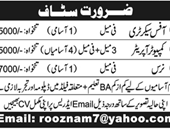 Office Secretary, Computer Operator, Nurse Jobs in Pakistan