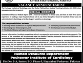 Peshawar Institute Of Cardiology Offering Jobs 2019