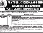Physical Education Jobs In  Army Public School & College  Rawalpindi