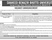 Senior Civil Engineer Jobs In Shaheed Benazir Bhutto University  Upper Dir