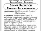 Senior Radiation Therapy Technologist job