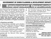Sindh Planning & Development Department Looking For Staff 2019