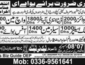 supervisor, data entry operator, watchmen, packing helper, Sales man, Office boy Jobs in UAE