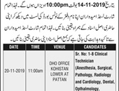 Technician Jobs In Health Department Kohistan