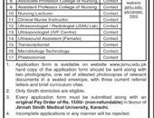Transcriptionist,Ultrasound Assistant Jobs In Jinnah Sindh Medical University Karachi
