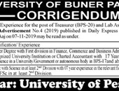 Treasurer,Lab Assistant Jobs In University of Buner KPK
