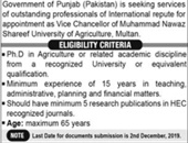 Vice Chancellor Jobs In Muhammad Nawaz Shareef University Of Agriculture Multan