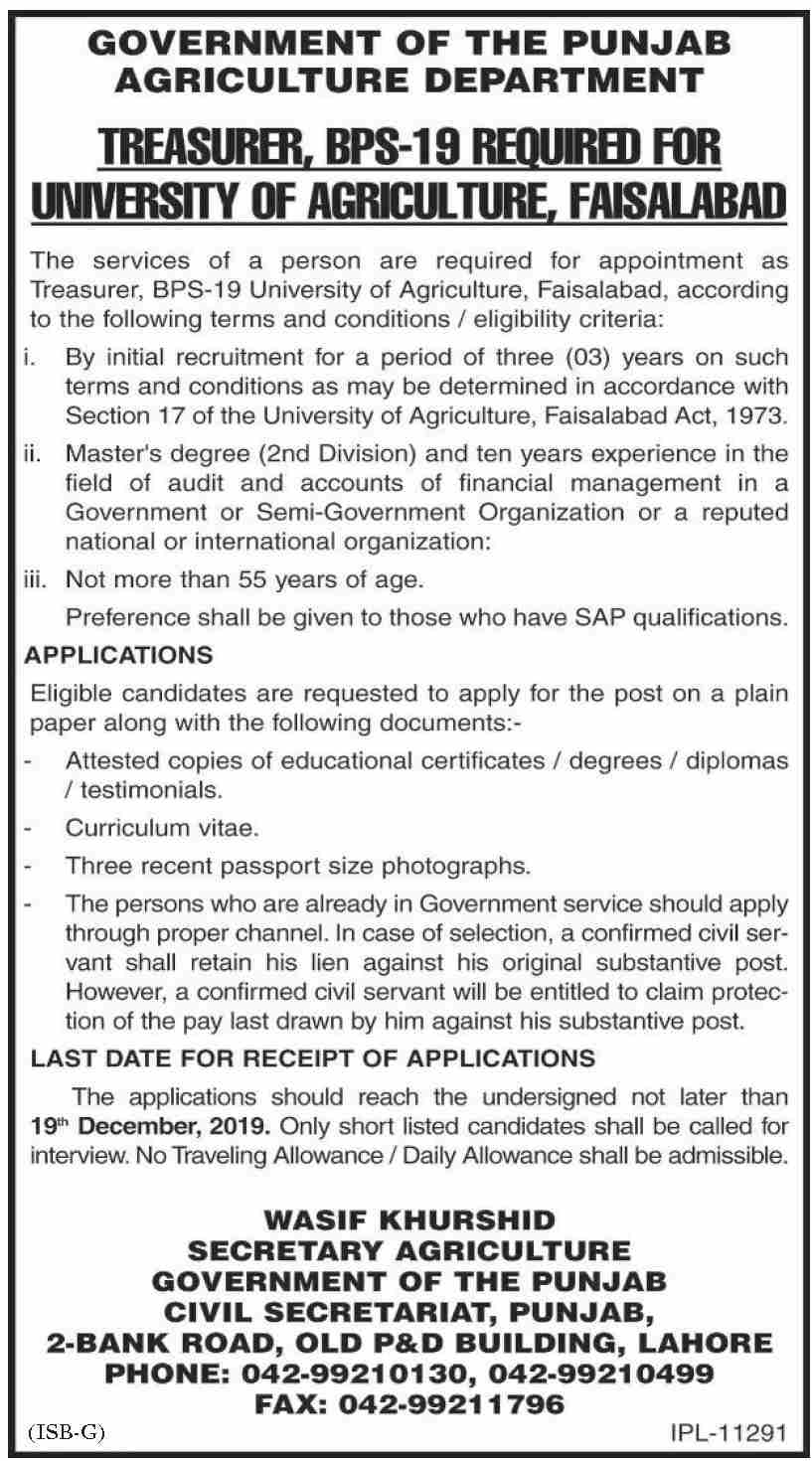 Agriculture Department jobs in Faisalabad