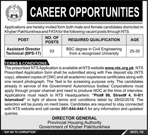 Assistant Director Technician Required In Khyber Pakhtunkhawa 10 Feb 2018