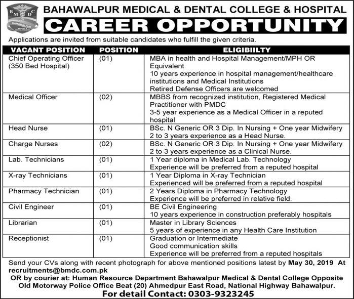 Bahawalpur Medical And Dental College Offering Jobs 2019