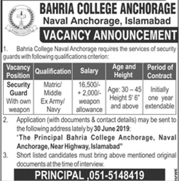 Bahria College Anchorage Islamabad Looking For Staff 2019
