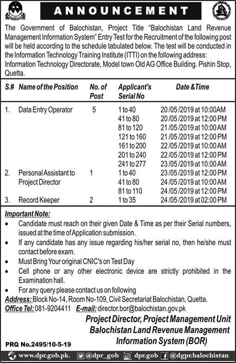 Balochistan Land Revenue Management Information System Jobs 2019