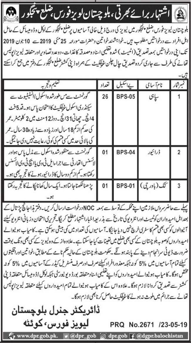 Balochistan Levies Force Offers Jobs 2019