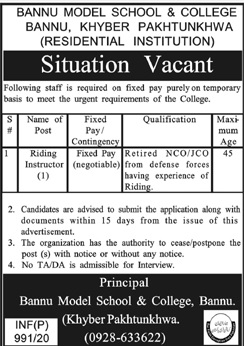 Bannu Model School And College JObs