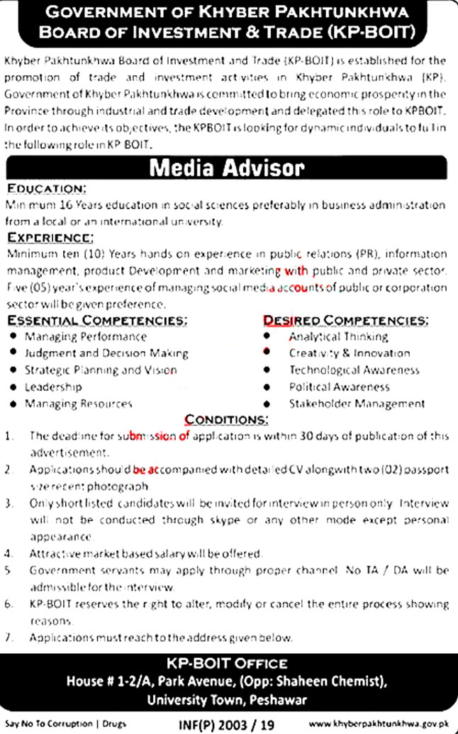 Board Of Investment & Trade KPK Offering Jobs 2019