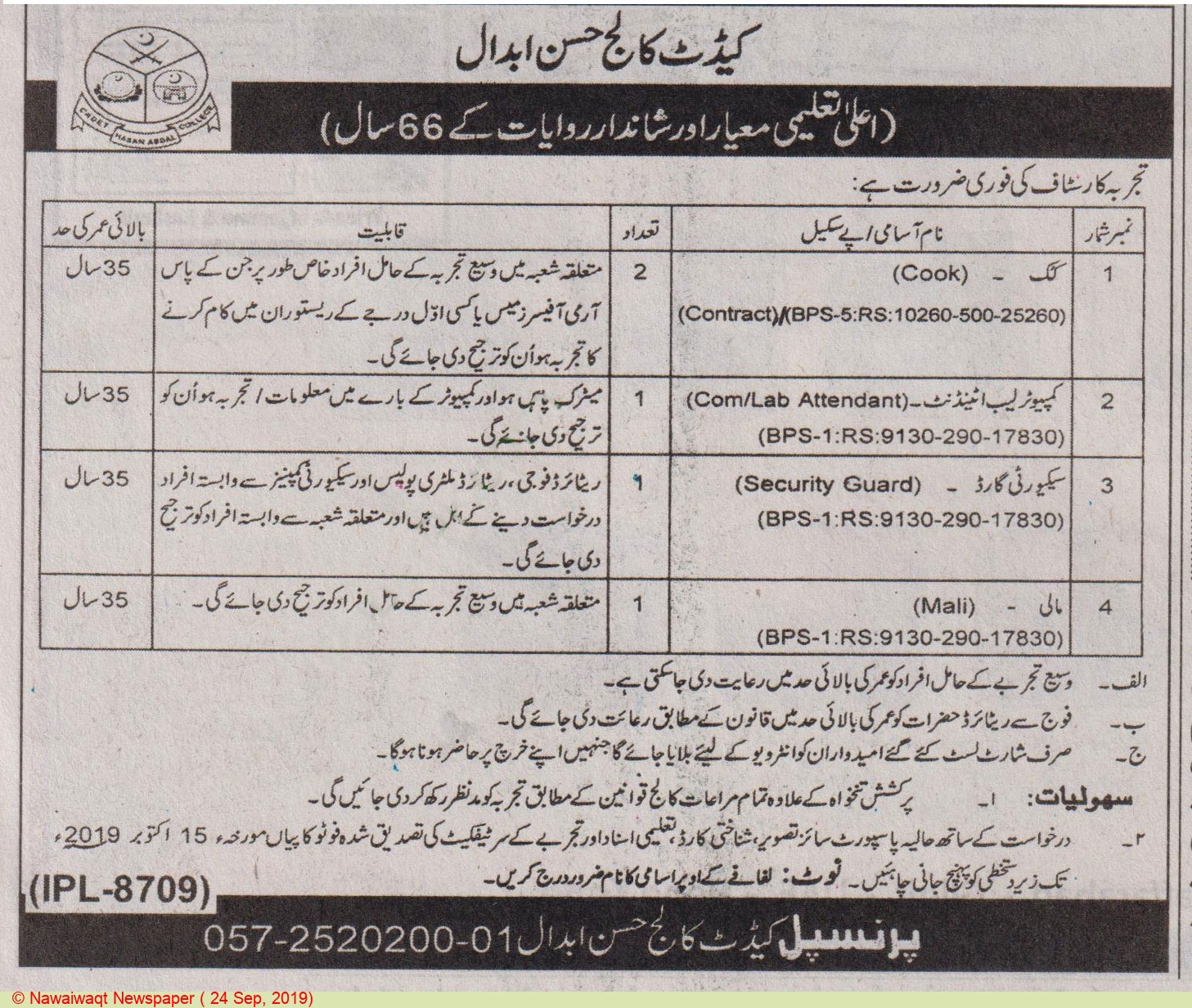 Cadet College - Hassan Abdal Offering Jobs 2019